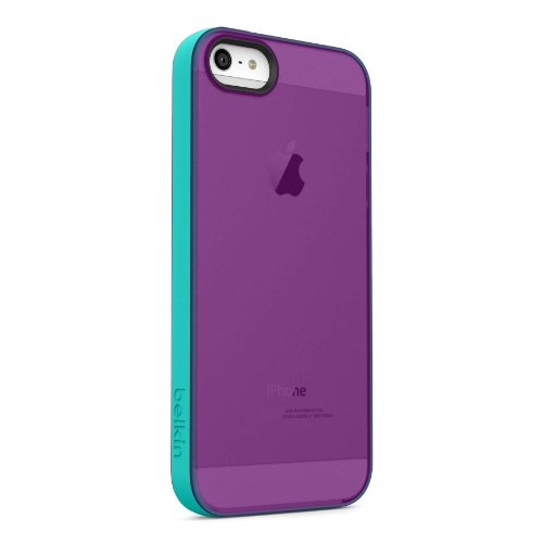 Belkin Grip Candy Sheer Case for iPhone 5 and 5S (Purple and Turquoise) Belkin Blue Silicone Case