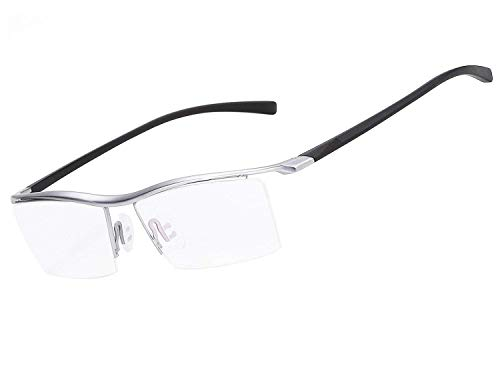LUOMON Plain Glasses for Men Half Rimless Business Eyeglasses with Titanium Frame ()