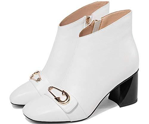 White In Heel Donna Pelle Zipper Alto Velluto Chunky Plus Tacco Winter Stivaletti Shiney xIw677