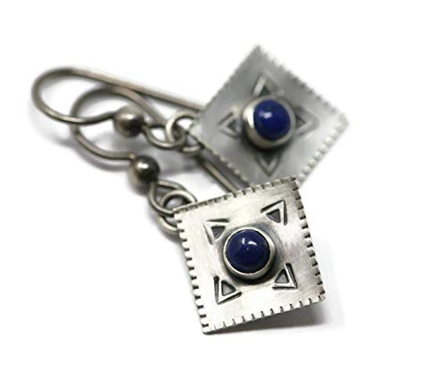 Lapis - Lazuli and Sterling Silver Southwest Style Drop Hypoallergenic Earrings in Antique ()