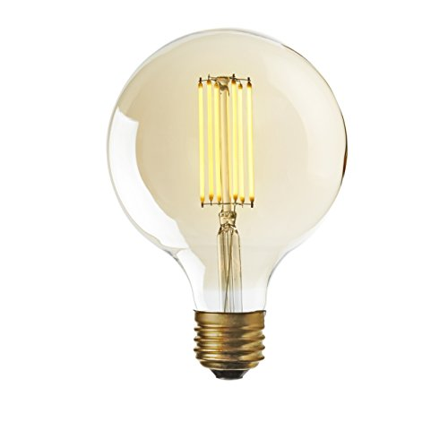 G25 LED Vintage Bulb Edison Style Squirrel Cage Filament, Fully Dimmable, 6W E26 Standard Base, Warm White Glow, UL Listed - Brooklyn Bulb Co. Bedford Design
