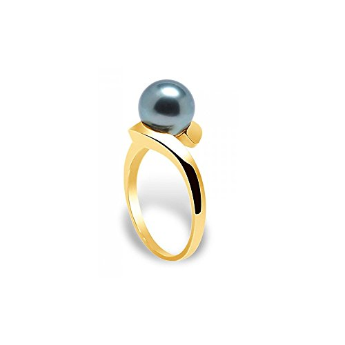 Black Tahitian Pearl bangle Ring and Yellow Gold 375/1000  5 - Blue Pearls BPS K405 W