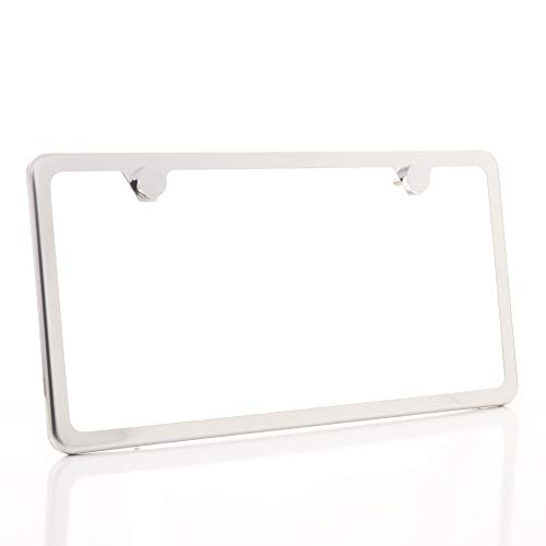 Circle Cool Polish to Chrome Mirror Style Stainless Steel License Plate Slim Two Hole Frame Holder Bracket