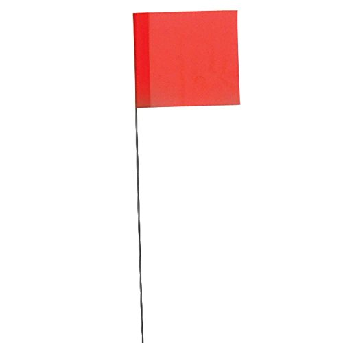 Vinyl Stake Flags with Wire Stakes, Bundle of 100 Marking Flags (Fluorescent Orange) ()