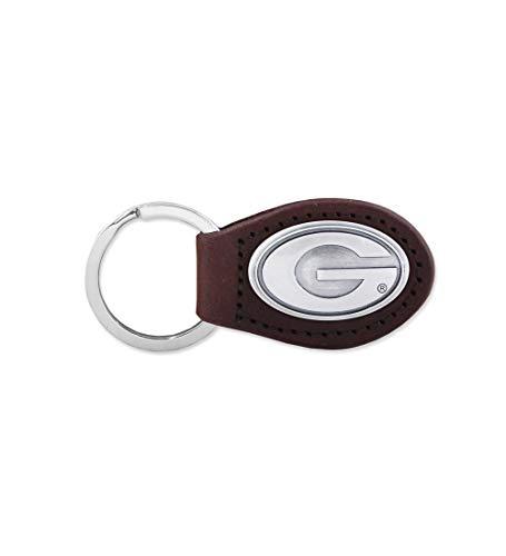 NCAA Georgia Bulldogs Brown Leather Concho Key Fob, One -