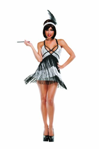 Starline Sexy Roaring 20s Boardwalk Flapper Women's Costume, Silver/Black, Medium