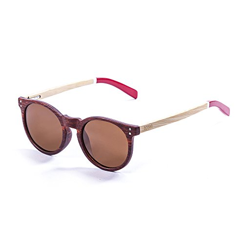 Wood Red Brown Natural Brown Lizard Adulte Arms de White Bamboo Ocean Lens Frame Soleil Mixte Sunglasses Lunettes 4AnOSq