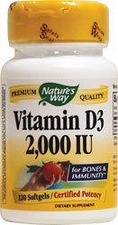 Nature Way vitamine D-3 2000 Iu, gélules, 120-Comte