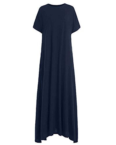 Y marine Manche Robe Decontracte Grande Kidsform Femme Tunique Taille avec Plage Poches Longue Courte Aw7Xq6C