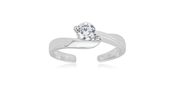Solitaire Toe Ring with Clear CZ Sterling Silver 925 Adjustable Jewelry Gift