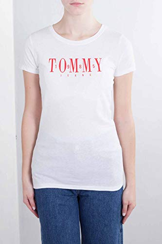 100 Tommy Mujer Tjw Jeans Casual Camiseta classic Tee Blanco Para zAfpz6qxw
