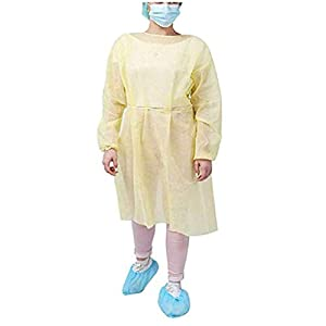 10 Pack Yellow Polypropylene Isolation Gowns for Medical Procedures, Disposable Contact Precautions Gowns for Health-Care Workers & Patients, Elastic Cuffs, Back Ties, Latex Free, One Size