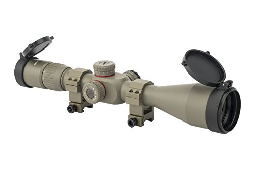 Monstrum Tactical 4-16x50 First Focal Plane (FFP) Rifle Scope with Illuminated Mil-Dot Reticle and Adjustable Objective (Flat Dark Earth/Flat Dark Earth Rings)