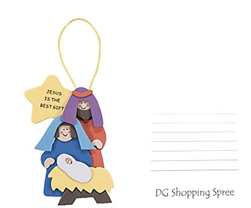 """DG Shopping Spree Foam """"Jesus is The Best Gift"""" Christmas Ornament Craft Kit - (Makes 12) Plus Free Sticky Notes ()"""