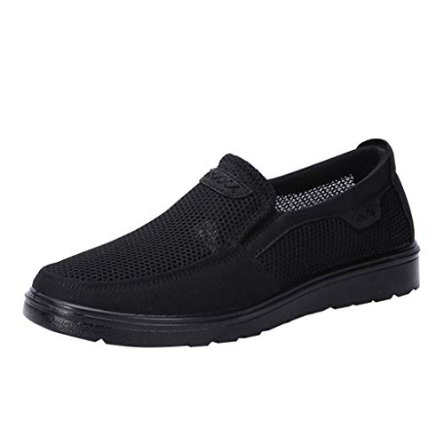 (iHPH7 Loafer Shoes Relaxed-Fit Slip-On Mesh Hollow Breathable Casual Shoes Soft Bottom in The Elderly Dad Shoes Men (47,Black))
