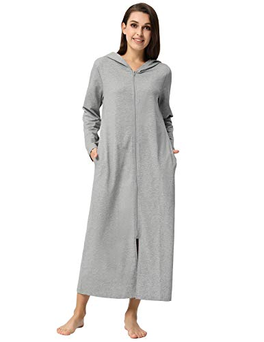 Zexxxy Robes for Women Hoodie Full Length with Pockets for Spa Hotel Nightwear Grey M