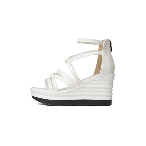 BalaMasa Womens Zipper Wedges Peep-Toe Urethane Sandals White LX0snfze