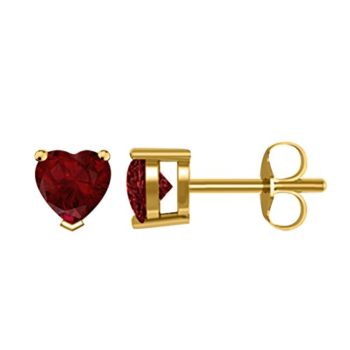Women's & Girls 4MM TO 8MM Heart Shape Created Red-Ruby Solitaire Stud Earrings with 14K Yellow Gold Plated