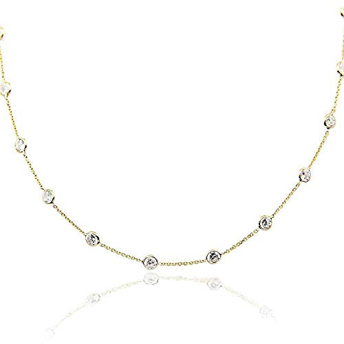 14K Yellow Gold Handmade Station Necklace With 4 MM Cubic Zirconia (16, 17, 18, 20 and 24 Inches)