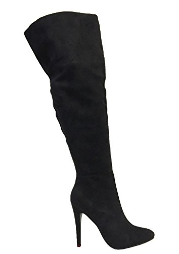 Faux Thigh High Faux SANDRA The High Knee Stiletto Sexy Women's Suede Black Over Heel Boots Suede Pointed Toe 0wxCR0zq