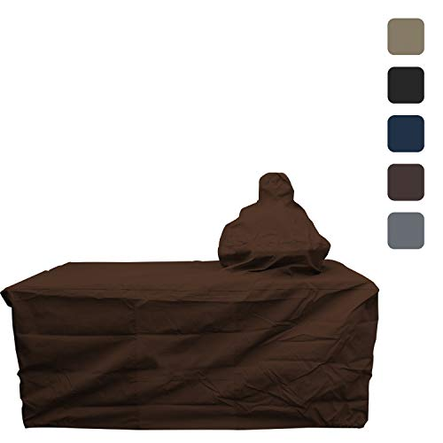 """Big Egg Grill Outdoor Patio Covers - Waterproof,12 Oz Both Side PVC Coated, All Weather Resistant Fabric. Patio Furniture Covers with Drawstring for Snug fit (72"""" L x 30"""" D x 52"""" H, Coffee) -  Covers & All"""