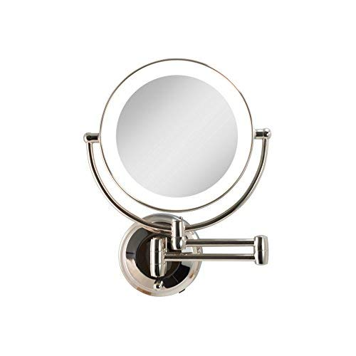 Zadro Cordless Dual LED Lighted Round Wall Mount Make up Mirror with -