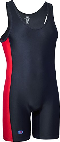 Cliff Keen The Guillotine Compression Gear Wrestling Singlet BLACK/SCARLET LCAC43J (MEDIUM)