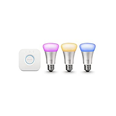 Philips Hue White and Color Starter Kit (Old Model, 1st Generation), 3 Bulbs and a Bridge, Works with Amazon Alexa