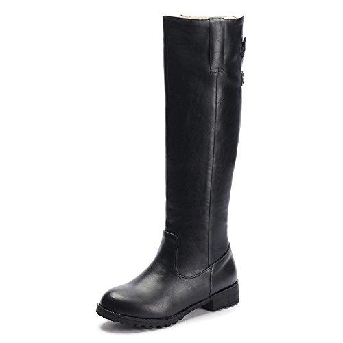 AllhqFashion Mujeres Sólido Pu Mini Tacón Velcro Puntera Redonda Botas Negro