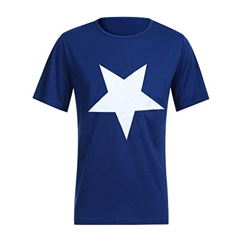 iHPH7 Shirts for Men Casual Spring Summer Star Print Short Sleeve O-Neck Tops Blouse T-Shirts (S,1- Blue) -