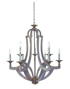 Jeremiah 35129-WP Winton 9 Light Chandelier, Weathered Pine/Bronze