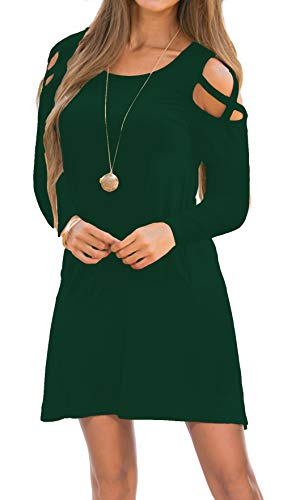 Cold Casual Shoulder Womens dark Green Dress Tunic Shirt Neck Round T Dresses A2 Loose Sf6xqF4