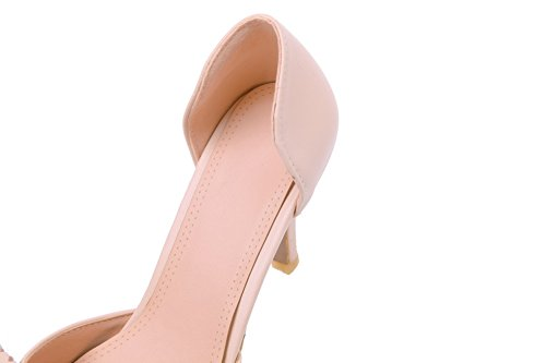 On WeenFashion Round Pumps Heels Kitten PU apricot Shoes Women's Pull Toe Solid ngCgqFwO