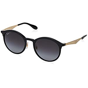 Ray-Ban Emma Polarized Iridium Round Sunglasses, Black, 51 mm