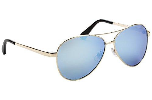 (Strike King Plus Flyer Polarized Sunglasses, Gold Frame/Black Tips and Blue Mirror Gray Base Lens)