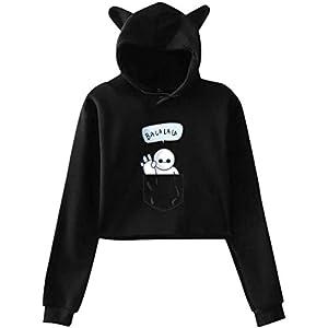 engzhoushi Women Sweatshirt Pullover Hoodie, Cat Ear Hoodie Sweater Women S Baymax in The Pocket Lumbar Sweatshirt…