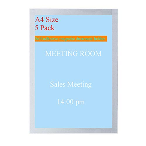 5 Pack 8.5 x 11 Magnetic Sign Holder Clear Self-Adhesive Plexiglass Sheet for Office Shop Business Advertisements Display Paper Print Poster Picture