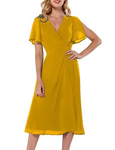 - Azalosie Women Wrap Midi Dress Short Sleeve V Neck Tie Waist Flowy Slit Summer Beach Party Wedding Maxi Dress Yellow