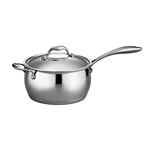 Tramontina Gourmet Domus 18/10 Stainless Steel, Tri-Ply Base 80102/006DS - 4 Qt Covered Sauce Pan with Helper Handle