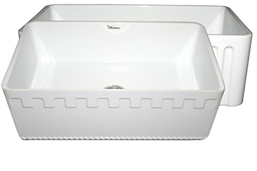 Sink Fireclay Undermount Whitehaus - Whitehaus WHFLATN3018 30-Inch Reversible Series Fireclay Sink with An Athinahaus Front Apron One Side and Fluted Front Apron on Opposite Side, White