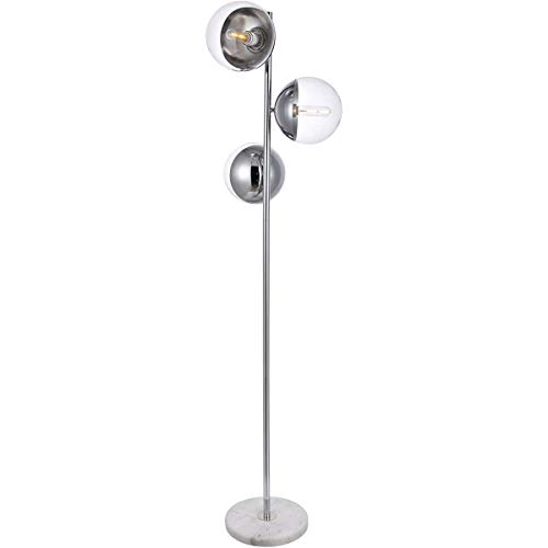 Floor Lamps 3 Light Fixtures with Chrome Finish Metal/Glass/Marble Material E26 Bulb 18