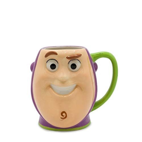 (Silver Buffalo TO13083D Toy Story Buzz Lightyear Playtime Face Ceramic 3D Sculpted Mug, 23-ounces, White/Green)