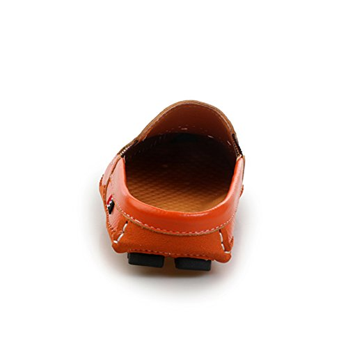 Go Tour Hombres Mules Clog Slippers Respirable Punzonado Cuero Slip On Zapatos Casual Loafers 1 Naranja