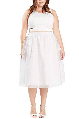 [Womens Fashion Princess Knee Length Tutu Ballerina Tulle Mesh Skirt Plus Size WHT 3XL] (Plus Size Tutu Skirt)