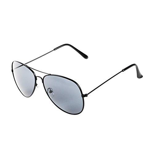 Pro Pilot Sunglasses | Lightweight Polarized Mirrored Aviator Sunglasses for Women and Men | Sturdy Metal Frame Shatterproof Cool Dark UV 400 Protection Resin Lens | Black Lens Black Frame - Readers Sunglasses With Aviation