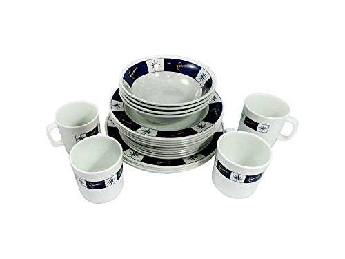 Five Oceans Melamine Dinnerware 20 Pieces Set by - Unbreakable 100% Durable Melamine – Marine design – Includes Dinner, Soup, and breakfast plates plus Bowls and Mugs. FO-3822-1