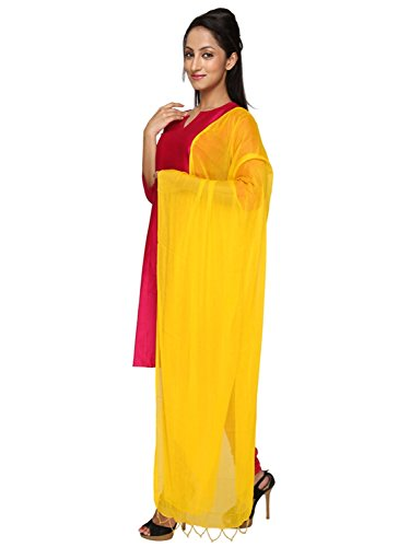 (Dupatta Bazaar Indian Casual Yellow Beaded Chiffon Dupatta, Scarf Shawl/Chunni)