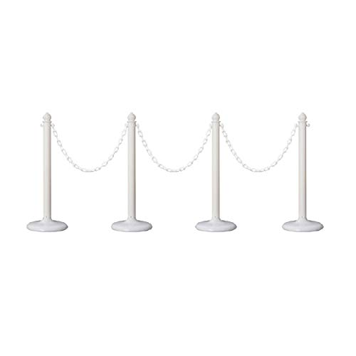 Plastic Safety Queue Stanchion Barrier Set with 32' Chain 4 PCS and C-Hook (White) ()