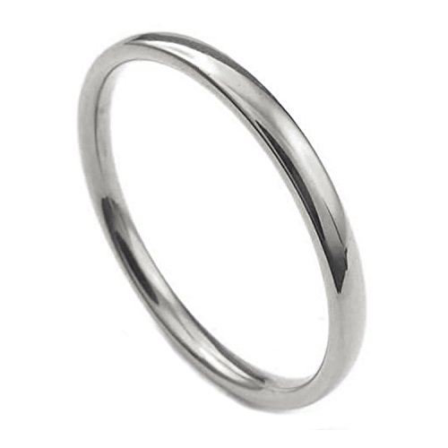 3 Mm Ring (Joybeauti Unisex 3mm Stainless Steel Comfort Fit Wedding Band Ring High Polished Plain Classy Ring Size 6 (Steel))