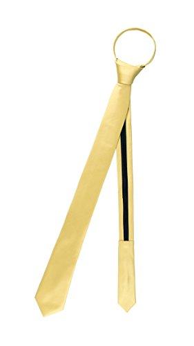 Vesuvio Napoli PreTied SKINNY Men's Neck Tie Solid GOLD Narrow Zipper Necktie